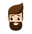 cartoon bearded man face friendly hipster male vector image vector image