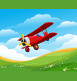 cartoon flying airplane vector image vector image