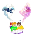 Children lying and reading book Kids imagination vector image vector image