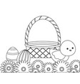 Cute chicken with basket and eggs of easter