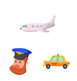 design of airport and airplane logo set of vector image