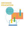 Distance Education Flat design icon vector image vector image