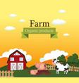 farm scene organic products label vector image