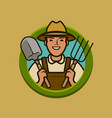 farmer logo or label agriculture farm vector image vector image