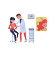 female doctor ophthalmologist helping girl patient vector image vector image