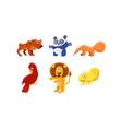 flat set funny animals cartoon vector image vector image