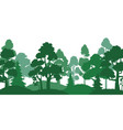 forest trees silhouette nature landscape green vector image vector image