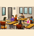 girls playing chess in a chess club vector image vector image