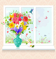 glass vase with arrangement of fresh flowers on vector image