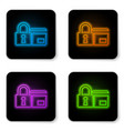 glowing neon credit card with lock icon isolated vector image