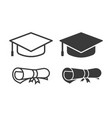 graduation cap and diploma icons vector image vector image