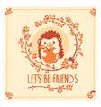 greeting card with cute hedgehog and apple vector image vector image