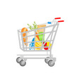 grocery shopping cart on white full supermarket vector image vector image
