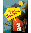 Halloween Mummy and Window vector image vector image