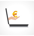 hand holding euro symbol comes from laptop screen vector image vector image