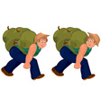 Happy cartoon man walking with heavy backpack vector image vector image