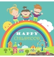 Happy children with rainbow and carousel vector image vector image