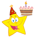 happy star holding a birthday cake vector image