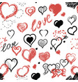 hearts chalk doodle seamless pattern vector image vector image