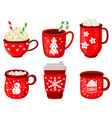 holiday hot drinks christmas winter drinks latte vector image