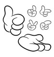 image of cartoon human hand gesture set isolated vector image vector image