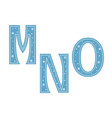 letters m n o decorated with snowflakes isolated vector image