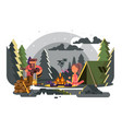 man and woman in camp near fire vector image