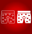 men underwear with hearts line and glyph icon vector image