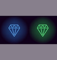 neon diamond in blue and green color vector image