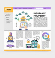property insurance service landing page concept vector image vector image