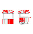realistic set street food kiosk and cart vector image vector image