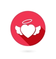 Red winged heart icon with shadow vector image vector image