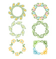 rounded ornaments with floral elements for vector image vector image