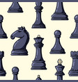 seamless black chess pieces pattern vector image vector image