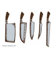 set hand drawn colored chef s knifes vector image
