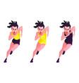 set of girls running triathlon on white background vector image vector image