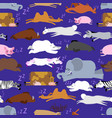sleeping animals seamless pattern seal and deer vector image