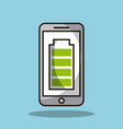 smartphone with battery full charge technology vector image