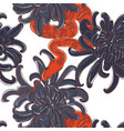 snake and flowers pattern contrst red vector image