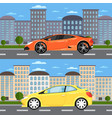 sport car and universal car in urban landscape vector image vector image