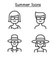 summer people icon set in thin line style vector image vector image