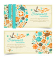 summer vacation vintage banners on grange paper vector image