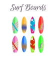 Surfboard colorful set Surfing boards vector image vector image