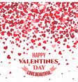 Valentine day red background with falling hearts vector image vector image