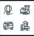 vehicles line icons linear set quality line set vector image vector image
