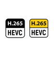 video hevc codec icon h 256 format video vector image vector image