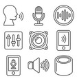 voice smart devices with sound wave icons set vector image