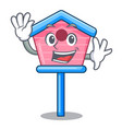 waving character cute wooden bird house in park vector image vector image