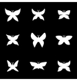 white butterfly icon set vector image