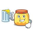 with juice cream jar mascot cartoon vector image